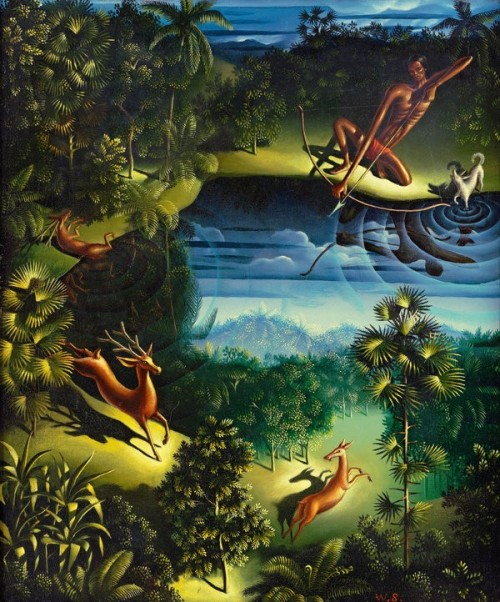 Walter Spies, Rehjagd (Deerhunt), 1932 oil on canvas